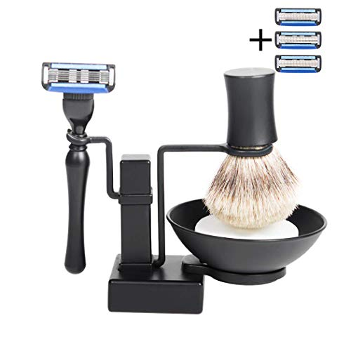 - Grandslam Cool Frosted Black Shave Stand and Safety Razor, Deluxe Chrome Razor and Zinc Alloy Shaving Stand Shaving Bowl and Soap Gift Set,5-layer blade.