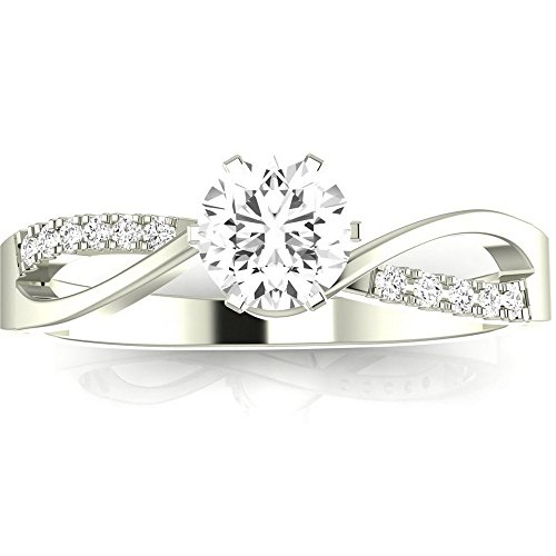 1 Carat 14K White Gold Elegant Intertwine Twisting Split Shank GIA Certified Round Cut Diamond Engagement Ring (0.9 Ct H Color SI2 Clarity Center Stone)