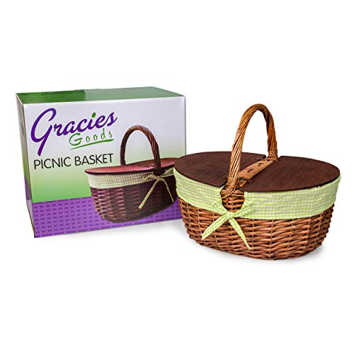 Simply Essentials Country Picnic Basket New Woven Wicker with Green and White Gingham Liner