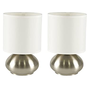 LightAccents Bedroom Side Table Lamps with On/Off Touch Sensor Brushed Nickel (Set of 2)