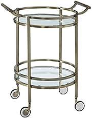 Powell 13K167 Antique Brass Round Service Cart