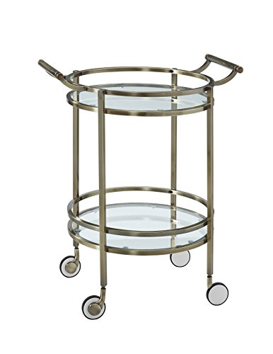 (Powell 13K167 Antique Brass Round Service Cart)