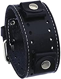 Black Wide Leather Cuff Wrist Watch Band