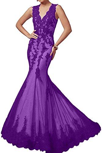 Rot Charmant Elegant Lila Abendkleider Damen Meerjungfrau Neuheit Ballkleider Langes Spitze Promkleider CwHg5wT