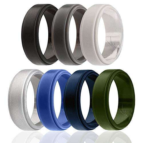 ROQ Silicone Wedding Ring for Men, 7 Pack Silicone Rubber Band Step Edge - Black, Grey, Silver, Light Grey, Blue, Dark Blue, Olive Green - Size 9