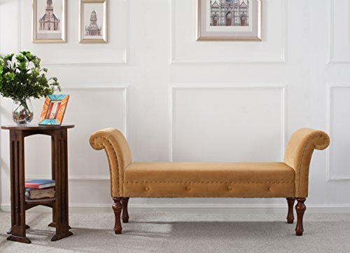 Jennifer Taylor Home, Roll Arm Entryway Bench, Gold, Hand-Applied Nailheads, Wooden Legs (Bench Gold Storage)