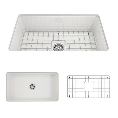 - BOCCHI 1362-001-0120 Sotto Undermount Fireclay 32 in. Single Bowl Kitchen Sink with Protective Bottom Grid and Strainer in White,