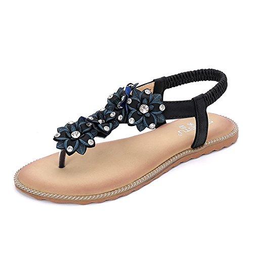 Meeshine Summer T-Strap Flip Flops Flower Beaded Elastic Slip On Flat Sandals (8.5 B(M) US, Black 03)