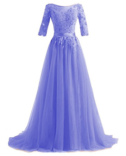 Party QiJunGe Lavender Lace Dresses Elegant Long Prom Gowns Half Evening Formal Sleeves zxrzq7RwP