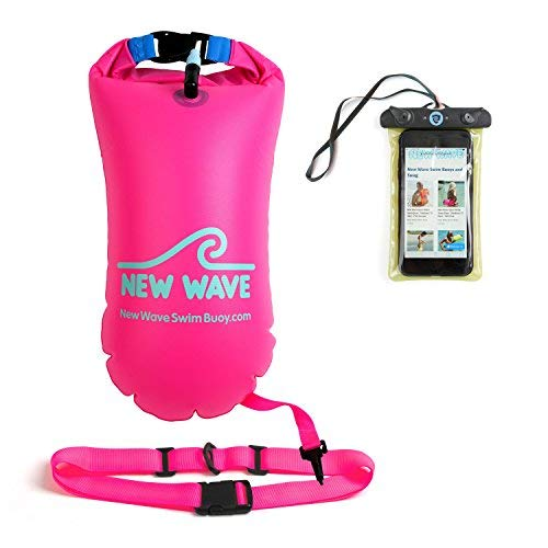 a1470db675205 New Wave Swim Buoy Swimming Tow Float and Drybag for Open Water Swimmers  and Triathletes - Light and Visible Float for Safe Training and Racing  (with ...