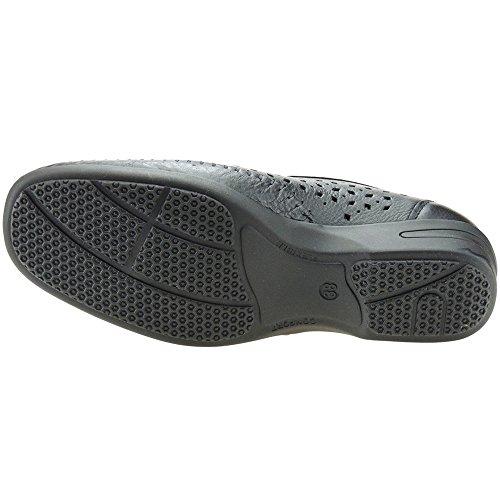 S@KUT - Zapato Comodón En Piel Calado Y Cuña De 4CM - Modelo D036.4 NEGRO