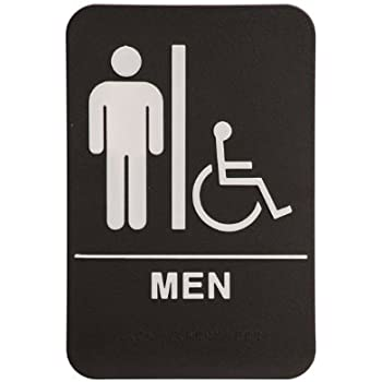 Amazon.com : Men Restroom Sign Black/White - ADA Compliant ...