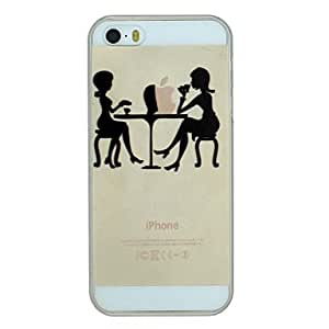 GOG Two Girls Chating And Drinking Coffee Pattern PC Hard Transparent Back Cover Case for iPhone 5/5S