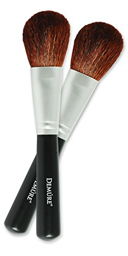 (Blush Brush 100% Natural Goat Hair Brush Set for Contouring, Blending, Bronzing & Highlighting. Mineral Makeup, Powder & Foundation Brush - Demure Cosmetics by Deluvia. Two for One Make-Up Brushes!)