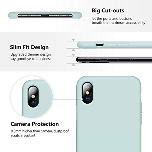 TORRAS Love Series iPhone Xs Case/iPhone X Case, Liquid Silicone Gel Rubber Shockproof Case Soft Microfiber Cloth Lining Cushion Compatible with iPhone X/XS 5.8 inch (2018), Mint