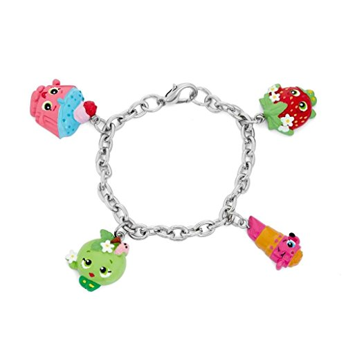 Shopkins Painted Character Charm Bracelet Cupcake Chic, Apple Blossom, Strawberry Kiss, Lippy Lips