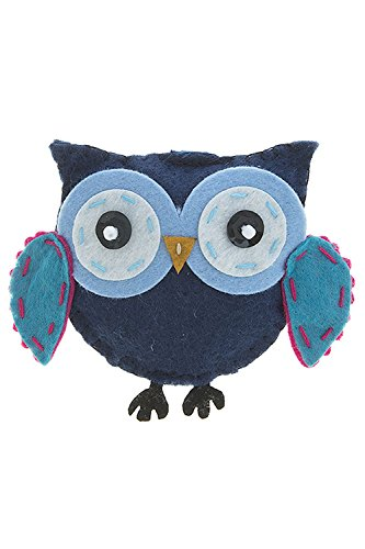 Edwardian Costumes Amazon (TRENDY FASHION JEWELRY PUFFY STITCHED OWL BROOCH BY FASHION DESTINATION | (Navy))