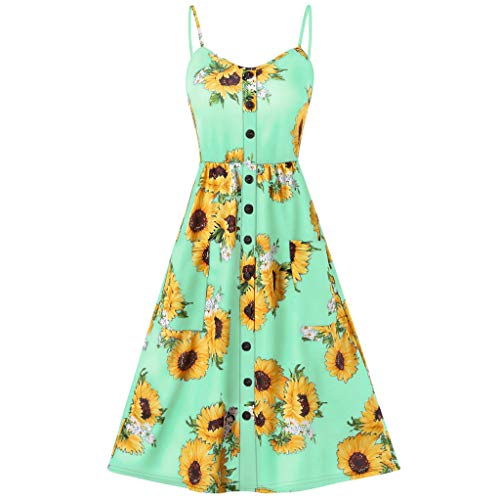 Women's T-Shirt Dresses Summer Floral Bohean Spaghetti Strap Button Down Swing a-line di Dress with Pockets Green ()