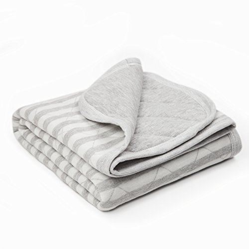 TILLYOU Allergy-Free Quilted Thermal Baby Blanket for Cribs - Thick Breathable Toddler Bedding Blanket for Boys, Girls - 100% Soft Jersey Cotton & Warm Microfiber Batting, Lt Gray Stripe, 39x39 ()