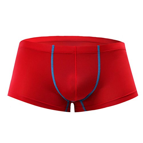 Sothread Men's Hot Sexy Boxer Briefs Silky Bulge Pouch Underwear Soft Comfort Shorts (Red, - Hot Underwear