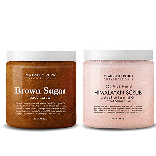 Majestic Pure Himalayan Salt Body Scrub & Brown Sugar Scrub Set - All Natural Scrubs for Skin Care - Exfoliate and Moisturize, Reduce the Look of Spider Veins, Eczema, Stretch Marks, Acne & Cellulite ()