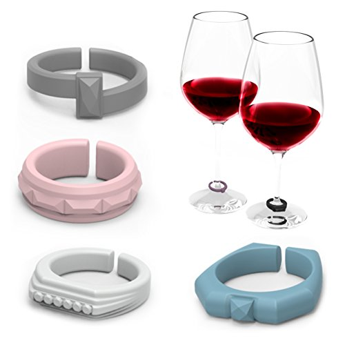 - Elegant Ring Design Wine Glass Charms, Drink Markers to Grip and Mark Wine Glasses and Stemware, Set of 6