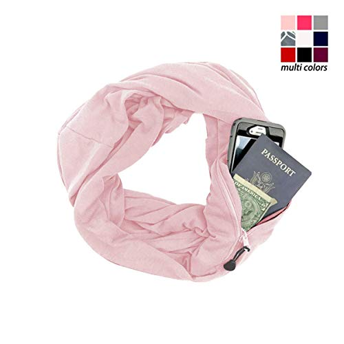 (Scarf with Hidden Pocket, Minggo Unisex Wrap Shawl Infinity Zipper Scarves Loop Solid Blanket for Autumn Winter (Pink))