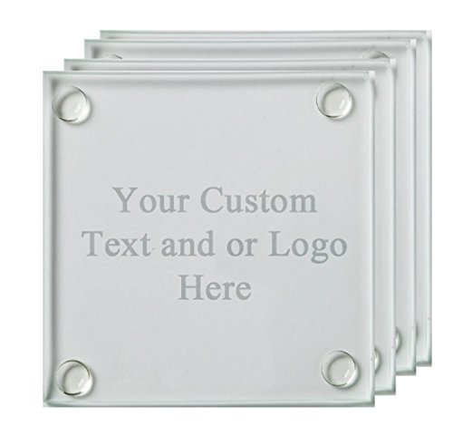 (ANY TEXT, Custom Customized Engraved Glass Coaster, Set of 4 - Custom Picture Personalized Laser Engraved Text Customizable Gift)