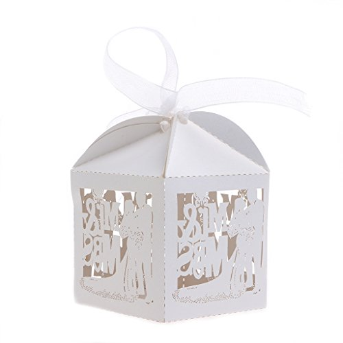 Bettal Mr and Mrs Candy Boxes for Wedding Party Favor, 10 Pcs/Bag (Ice (Pearlescent Ice)