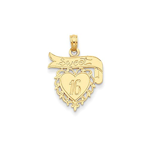 14k Yellow Gold Heart Sweet 16 Pendant Sixteenth Birthday Charm Fashion