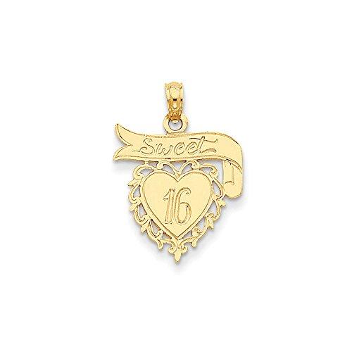 14k Yellow Gold Heart Sweet 16 Pendant Sixteenth Birthday Charm Fashion