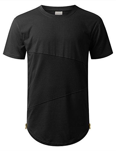 URBANCREWS Mens Hipster Hip Hop Mesh Trim Tonal Longline T-Shirt Black Medium