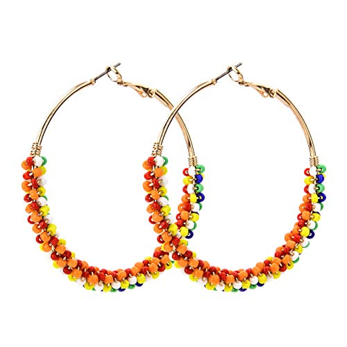 ODLADM Beaded Big Circle Hoop Earrings for Women Handmade Bohemian Beads Brass Drop Dangle Fashion Jewelry Earrings Gold (Mutil Color)