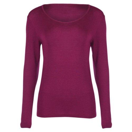 Engel camiseta térmica de manga larga para mujer 70% lana de merino orgánica/30% seda Mulberry violeta orquídea