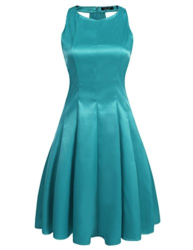 ANGVNS O Neck Sleeveless Pleated Cocktail