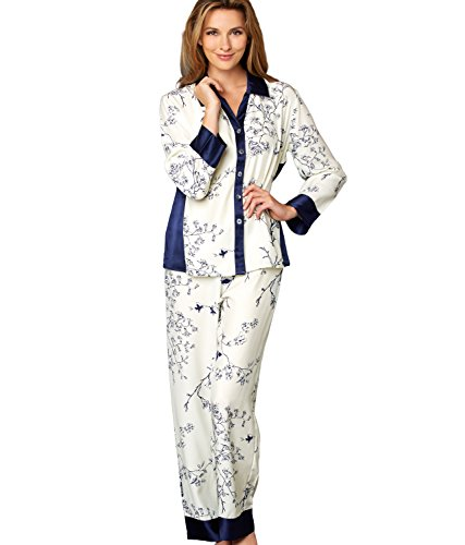 Julianna Rae Women's Jewel Garden 100% Silk PJ, Petite, Midnight Floral, SP