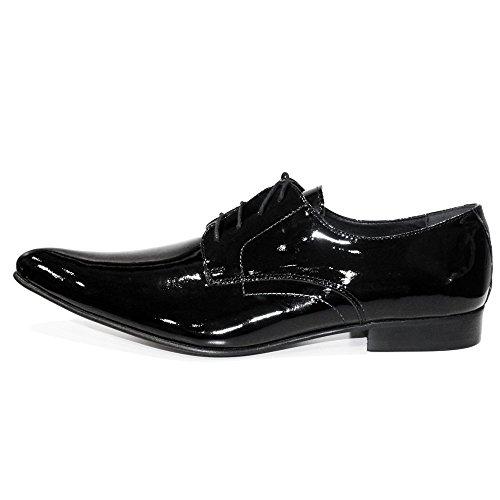 PeppeShoes Modello Lucero - Handmade Italiano da Uomo in Pelle Nero Scarpe da Sera - Vacchetta Pelle Morbido - Allacciare