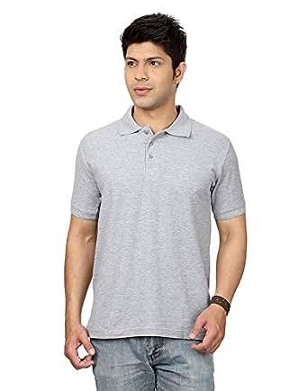Rodid Solid Men Polo Neck Half Sleeve Small Size Grey Melange Shirt