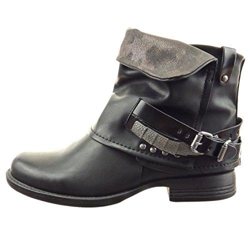 Sopily - damen Mode Schuhe Stiefeletten Biker glänzende Schleife Nieten - besetzt - Schwarz