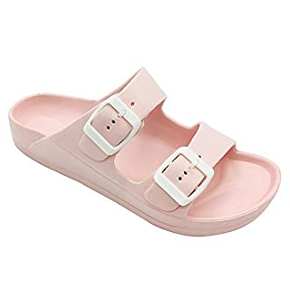 FUNKYMONKEY Women's Comfort Slides Double Buckle Adjustable EVA Flat Sandals (10 M US-Women, Pink)
