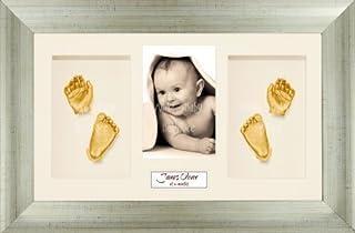 BabyRice Baby Casting Kit / 14.5x8.5' Antique Silver Frame/Cream 4 Hole Mount/Cream Backing/Gold Paint
