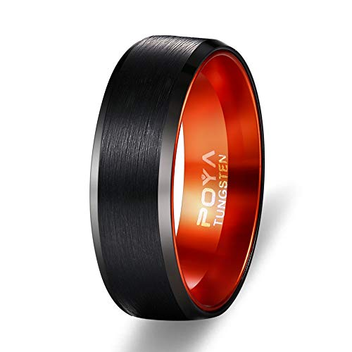Finish Tungsten Rings with Orange Anodized Aluminum Inset Mens Wedding Band (15) ()