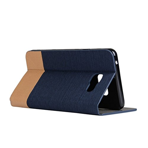 Para la galaxia A5 (2016) / A510 de Samsung patrón de la textura de la lona PU + TPU cubierta horizontal de la caja del cuero del tirón con las ranuras del portatarjetas y de tarjeta by diebelleu ( Co Dark blue