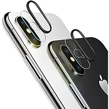 iPhone Xs Max Camera Lens Protector, [2 Pack] Ultra-Thin Anti-Scratch Camera Tempered Glass Screen Protector Film and 2pcs Camera Lens Rings Compatible ...