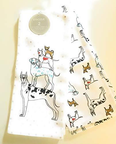 ENVOGUE Great Dane, Dalmation, Bull Terrier, Chihuahua Dog Pile Kitchen Hand Towel Set of 2 100% Cotton (Towel Terrier Kitchen)