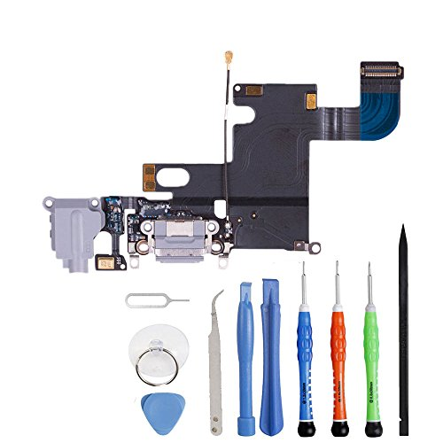 Unifix-Gray Headphone Jack Mic Replacement Audio Dock Connector Charging USB Data Port Flex Cable Part for iPhone 6 4.7 + Premium Toolkit
