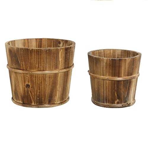 Wood Pot (Set of 2 Country Rustic Brown Wood Succulent Pots Planters / Flower Buckets -)