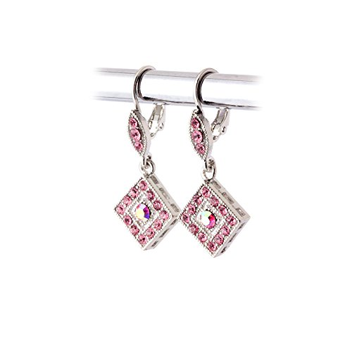 Silver and Pink Austrian Crystal Leverback Earrings