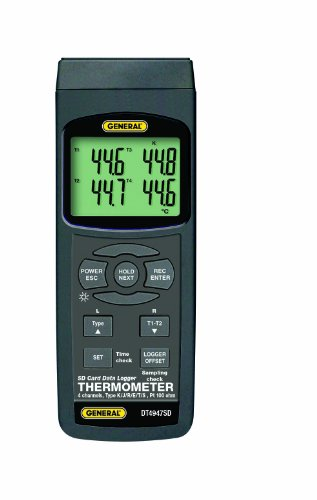 General Tools DT4947SD Data Logging Digital Thermometer with Excel Format SD Card, 4 Channel by General Tools