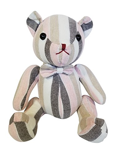 - 3Cats Stuffed Bear Toy, Decorative Vintage Patchwork Plush Bears (Pink)